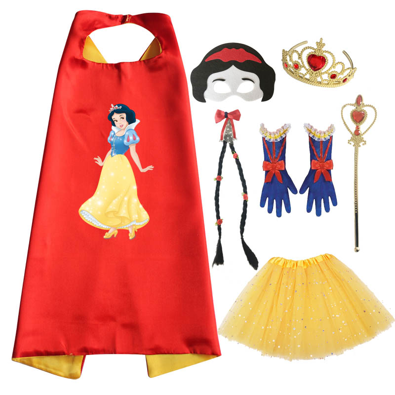 Snow White Costume Cosplay Cape Mask Tutu Tiara Wand Glove Braid for Birthday Party Favor Halloween Costumes