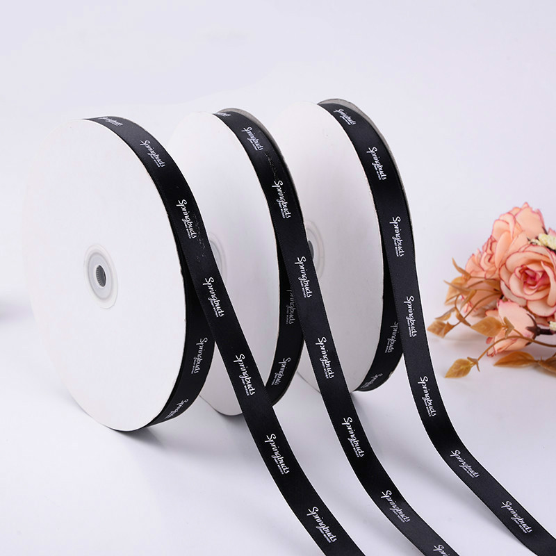 High-quality 100yards  Flat Printing Custom Logo Satin Ribbon FOR Personalized Gifts Boxes Decoration Flower Store Bunch Printing Logo