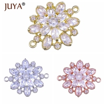 4Pcs/lot Gold Silver Rose Color Zircon Flowers Charms Pendants for Bracelet Necklace Earrings DIY Jewelry Making Finding