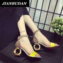 jianbudan  high-heeled sandals 2017 summer  personality shaped with open-toed sandals woman shoes wild office