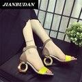 JIANBUDAN sandalias 2016 verano nueva personalidad de la moda de tacón alto Femeninos en forma con sandalias de punta abierta zapatos de mujer salvaje oficina