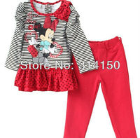 FREE SHIPPING Girl S Suit Children Long Sleeves Two Piece Dress Kid Clothes Cotton Cartoon Animal