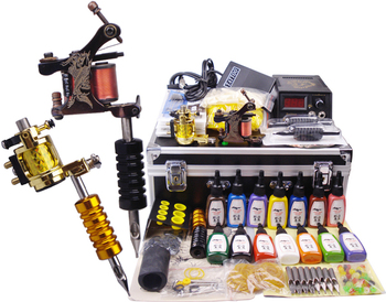 2 top tattoo machine set complete ROTARY machine 14colors ink 50pcs needles tip kit tattoo supply swholesale with carrying case