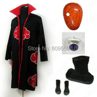 Free Shipping! Anime Naruto Akatsuki Uchiha Madara Cosplay Costume Cape, mask, ring, Shoes