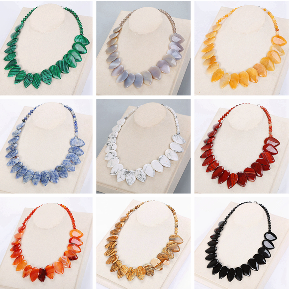 5A Natural Agate Leaf Pendant Necklace Ethnic Women Choker Jewelry Gemstone Men Female Amber Turquoise Tourmaline Topaz Necklace allblue mihawk 110sf jerkbait fishing lure 110mm 14 1g slow floating wobbler minnow bass pike bait fishing tackle mustad hooks