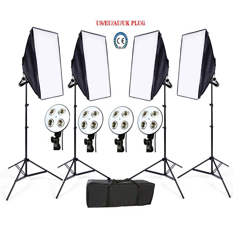 Impuesto libre ruso Photo Studio Softbox kit 4 soporte 4 luz 4 softbox 1 unid bolsa vídeo kit de iluminación caja suave