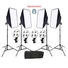 Russa Tax Free Photo Studio kit 4 estande luz Softbox 4 titular da luz 4 kit de iluminação de vídeo softbox 1 pc bolsa de transporte suave caixa