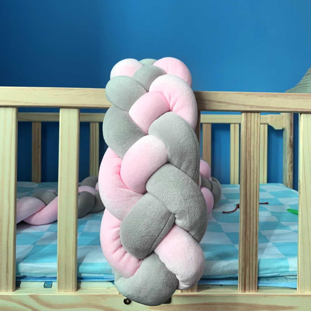 2 M เด็กกันชน Knotted 4 Strands Braided กันชน Handmade Knot หมอน Pad เนอสเซอรี่ Cradle Decor เด็ก protector
