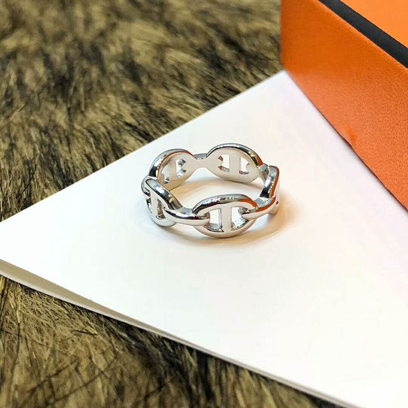 Brand Pure 925 Sterling Silver Jewelry For Women Steam Punk Lock Rings Chain H Rings Wedding Jewelry Fashion Party Rings Luxury