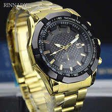 RINNADY Luxury Brand Men's Watches Full Steel Quartz Analog Digital Auto Date Army Military Sport Watch Male Relogios Masculino