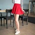 Nuevas faldas cortas para mujer 2016 nuevo estilo casual vintage faldas de las muchachas para la escuela rojo plisado mini skater falda de talle alto más el tamaño