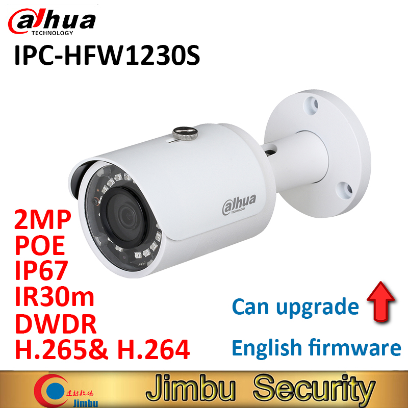 Dahua 2MP mini IP camera H.265 IPC-HFW1230S DWDR bullet IR30m IP67 POE bullet camera 1080P COMS English firmware can be upgrade цена 2017