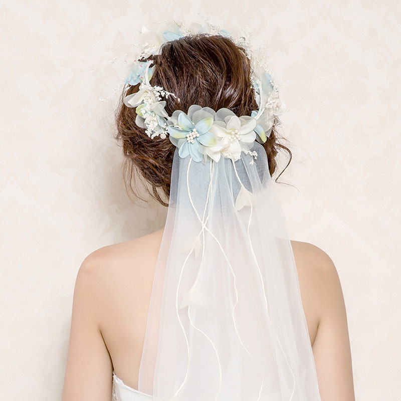 Us 9 88 30 Off 2018 Newest Flower Crown Veil Flower Headbands Tiaras Veil Wedding Hair Accessories Bridal Flower Wreath Veils Flower Headpieces In