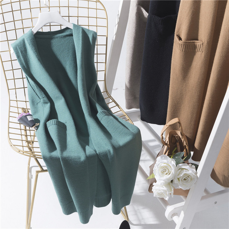 2020 Solid Color Loose Long Coat Female Autumn Sleeveless Knitted Vest Women Korean Fashion V-neck Lady's Sweater Wool Cardigan