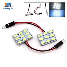 50PCS LED Panel Light 5730 9 SMD 12V DC With T10 Festoon Adapters Reading Lights Super White Color