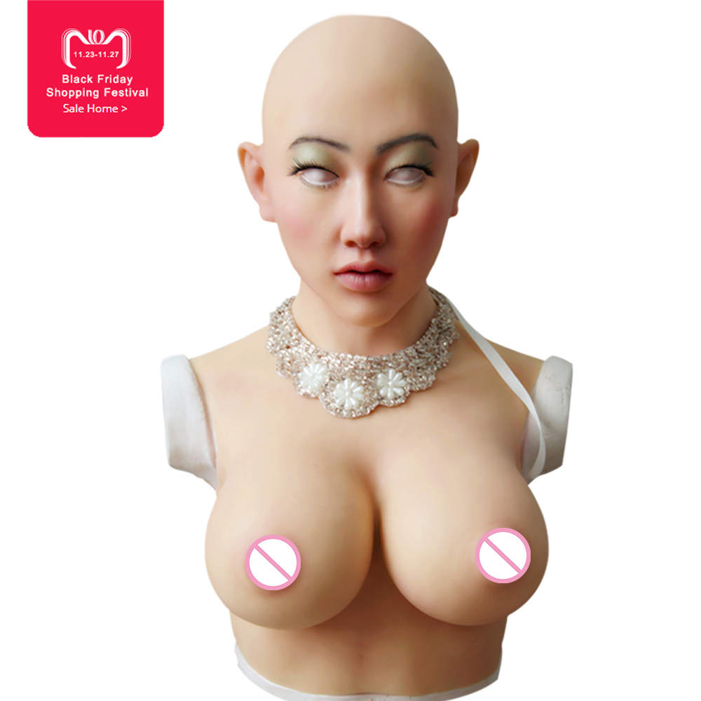 EYUNG Shivell Halloween masquerade máscara com formas de mama artificial para crossdresser peitos Mais feminino máscara feminina de silicone