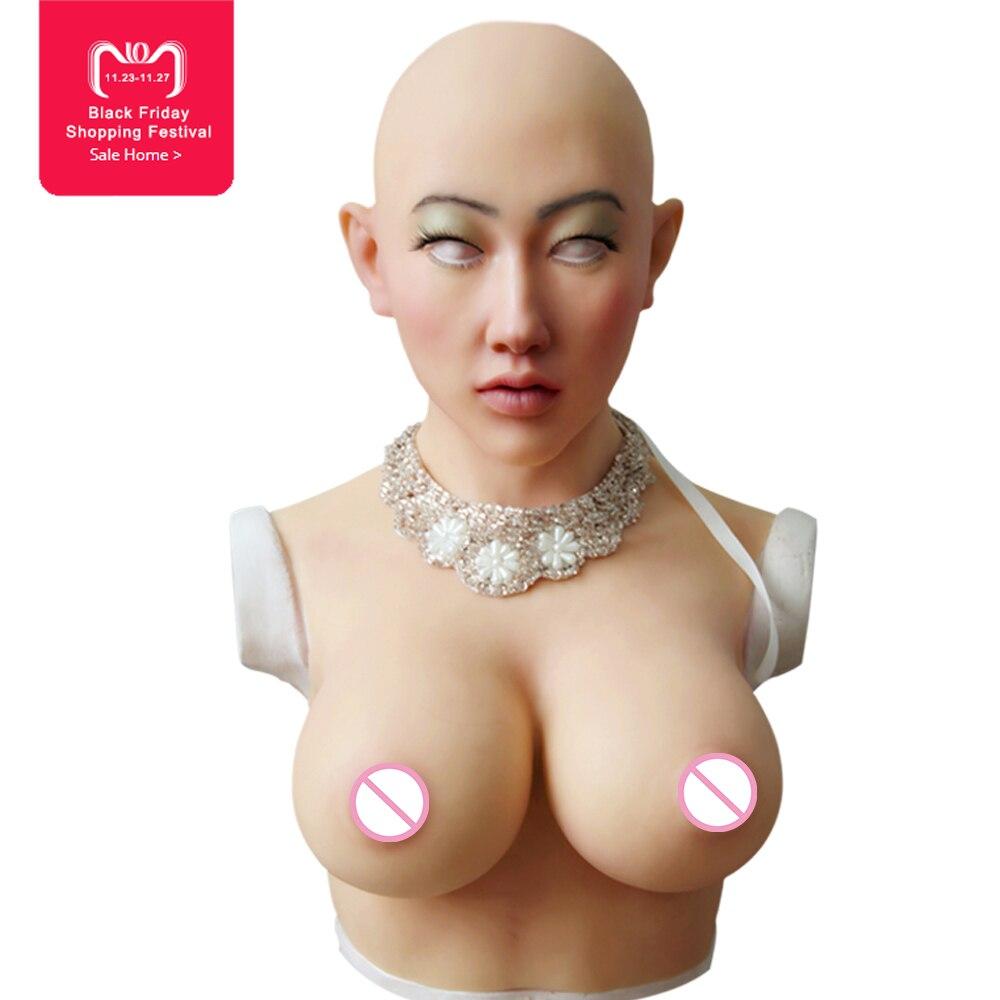 EYUNG Shivell masque avec seins artificiels formes mammaires pour crossdresser Halloween mascarade Plus féminin silicone masque féminin
