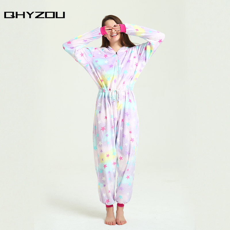 Star Print Drawstring Waist Unicorn Overalls Onesie Women Kigurumi Pajamas Pantufa De Unicornio Onsie Pijamas Jumpsuit