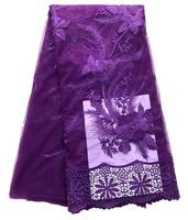 purple french lace fabric 3d lace fabric sewing dress tulle lace with 3d applique embroidered fabric with Stones for wedding