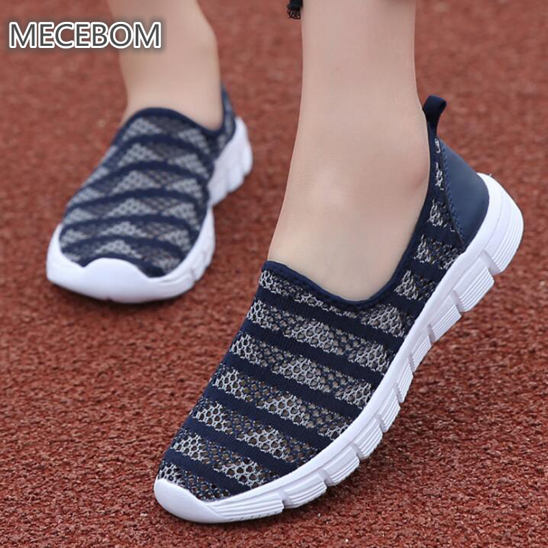 2018 Summer Mesh Slip On Rubber Casual Flat Heel Wedge Platform Sandals Sport Women Shoes Baleriny Moccasins Zapatos Mujer E39W instantarts women flats emoji face smile pattern summer air mesh beach flat shoes for youth girls mujer casual light sneakers