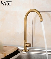 Single Cold Kitchen Faucet Antique Bronze Finished Deck Mounted Kitchen Sink Water Tap