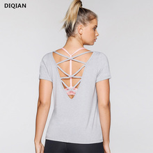 Soft Shorts Sleeve Yoga Tops V Back Gym Shirts Black Workout Clothes yoga Top shirts For Sport Women Fitness Top Shirts