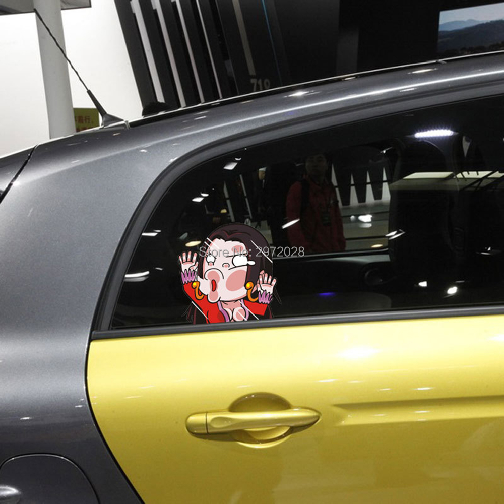 Car Glass Sticker Design - Newest design qq altman hitting the glass creative auto decal set cartoon car sticker car bumper