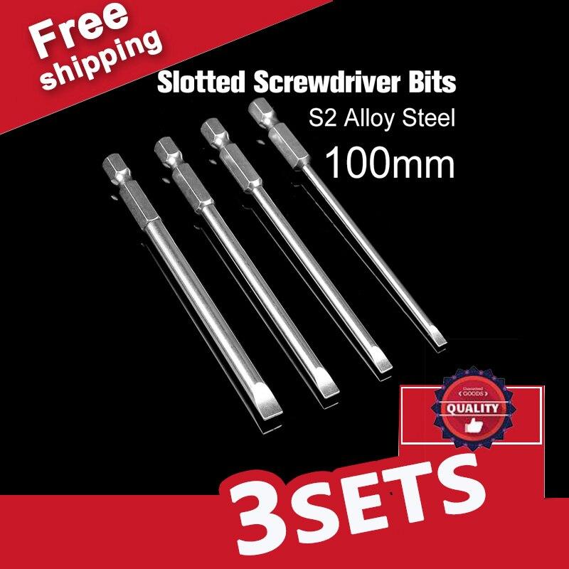 цена на 3 sets Magnetic Slotted Screwdriver Bit Set 1/4 Hex Shank 4 pcs 100mm Long 3mm / 4mm / 5mm / 6mm Flathead Screwdriver Bit Set