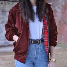 2017 Autumn ZANZEA Women Casual Outwear Long Sleeve Vintage Tartan Zippered Pockets Bomber Slim Jacket Coat
