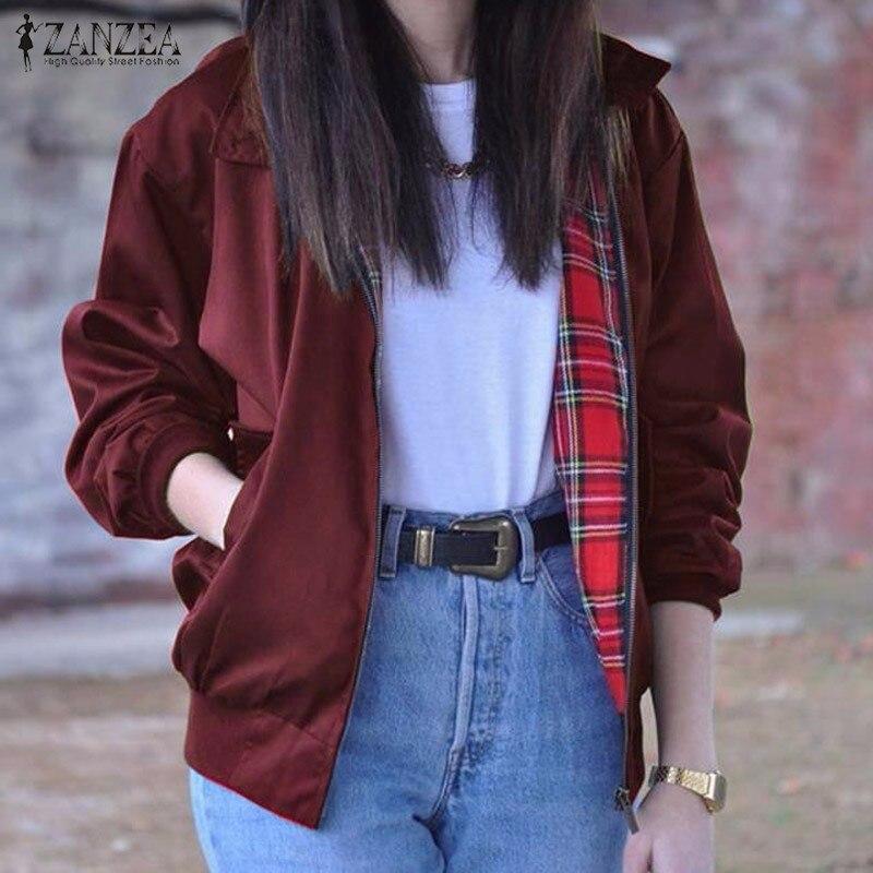 2018 Autumn ZANZEA Women Casual Outwear Long Sleeve Vintage Tartan Zippered Pockets Bomber Slim Jacket Coat Plus Size Oversized