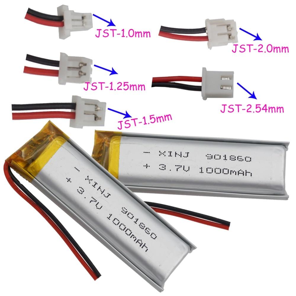 XINJ 2pcs 3.7V 1000mAh Li Lithium Polymer Battery 2pin 1.0/1.25/1.5/2.0/2.54mm Plug For Camera Navigation Bluetooth Phone 901860