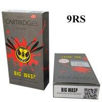 BIG WASP Gray Professional Disposable Tattoo Needle Cartridge 9 Round Shaders 1009RS 20Pcs Box