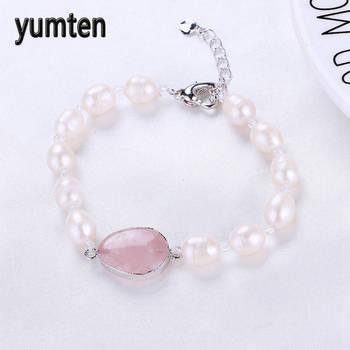 8ab828c66815 Yumten agua dulce perla pulsera mujer joyería fina Flor de piedra Natural  rosa cuarzo plata corazón broche accesorios regalo