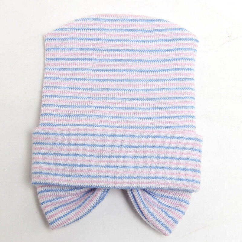Newborn Baby Girls Striped Headband Headwear Toddler Soft Beanie Hat With Bow