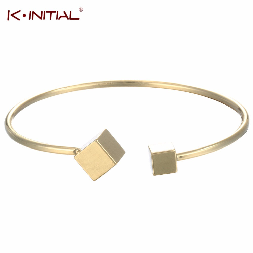 Bracelets & Bangles Kinitial Open Double Cube Bangles & Bracelets Geometric Square Bracelet Bangle For Women Gold Silver Plated Cuff Jewelry