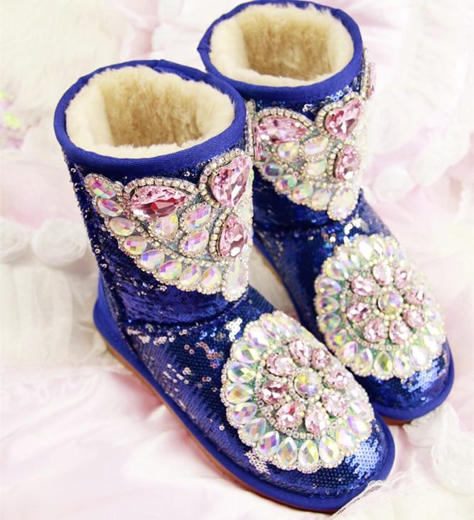Au De Neige Diamant Augmenté Strass Appartements Chaussures En D'hiver Fourrure Ont Garder Bottes Plate rose Chaud forme Lapin Cuir Femmes Imperméables Bleu Cristal pwq5SAUx