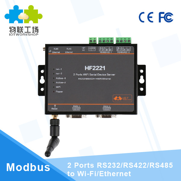 HF2221 Industrial Modbus 2Ports Serial Server RS232/RS485/RS422 to WiFi Ethernet Device usr n510 modbus gateway ethernet converters rs232 rs485 rs422 to ethernet rj45 with ce fcc rohs certificate