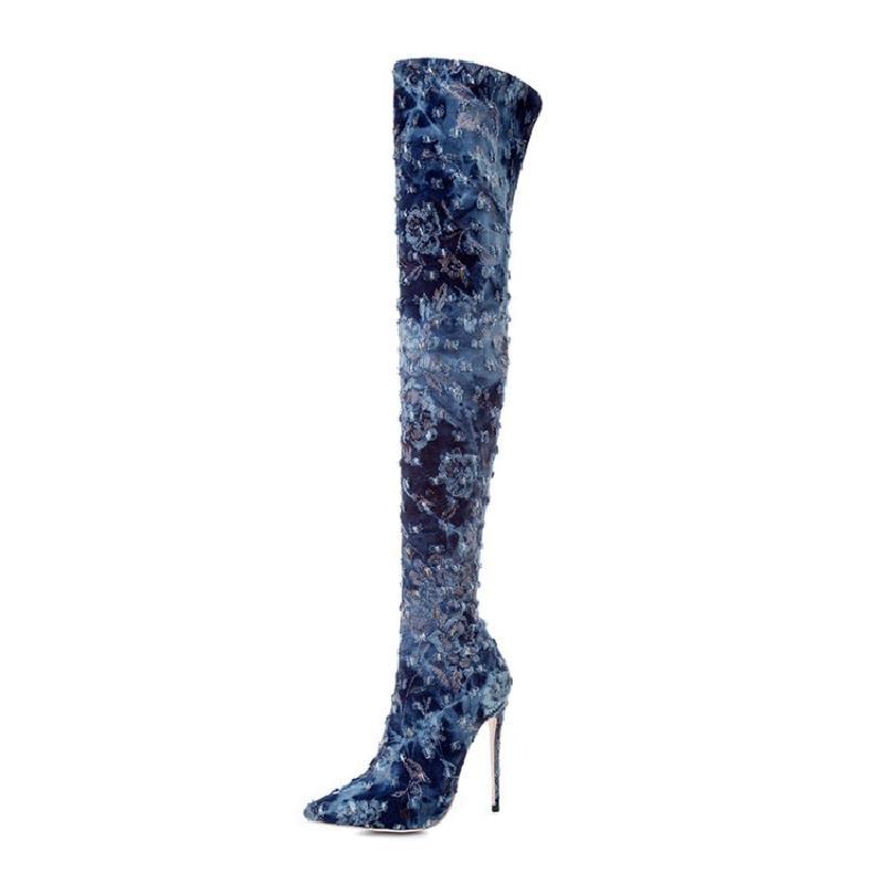 Winter Women Gothic Boots Studded Long Bottes Jean Femmes Print Motorcycle Boots Over The Knee Denim Slip On Plush Bota Feminina