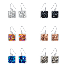 New Hot Crystal Cluster Drop Earrings Classic  Crystal Square Austrian Earrings Fashion 7 Color for Women Statement Jewelry Gift