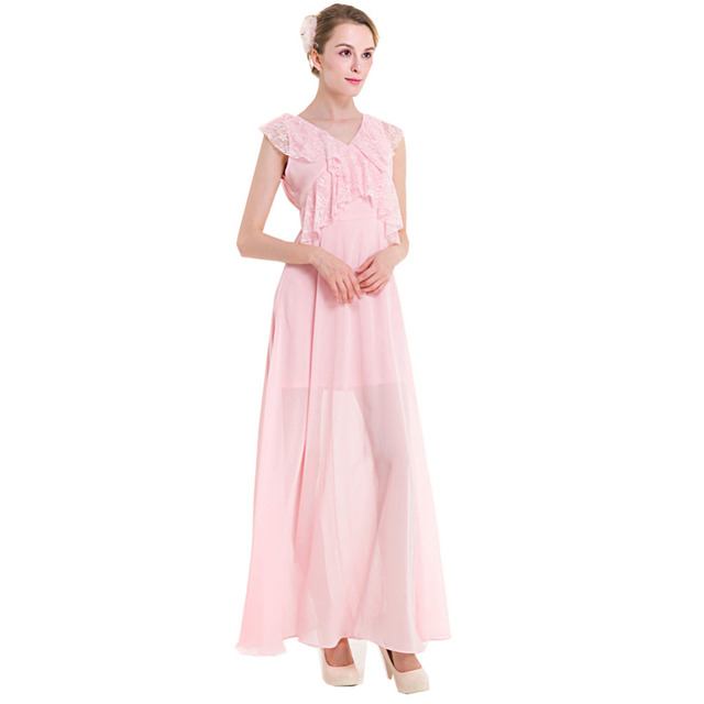 2ed7d7fb1 Pink Lady Lace Crochet Remiendo de La Colmena de Gasa Maxi Vestidos de  Novia Elegante Cuello
