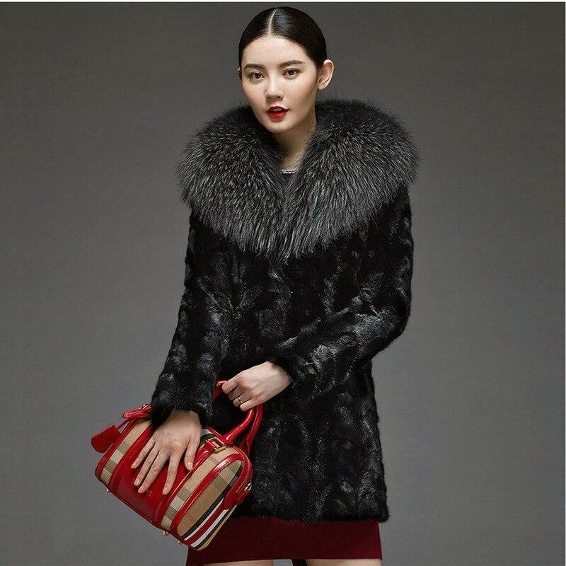 Manteau Femmes De Nouvelle Vêtements Laveur S Raton Faux Vison D'hiver Mode 6xl Haute Grand Fourrure Imitation Col gYYqBz8w