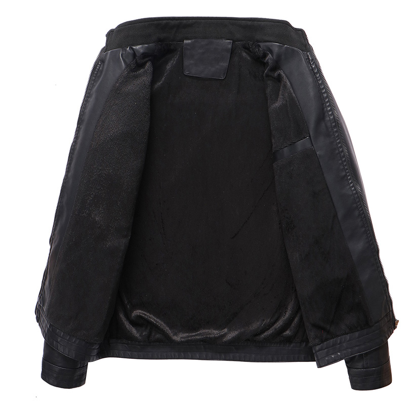 Mens Leather Jacket Brand High Quality Outerwear 4