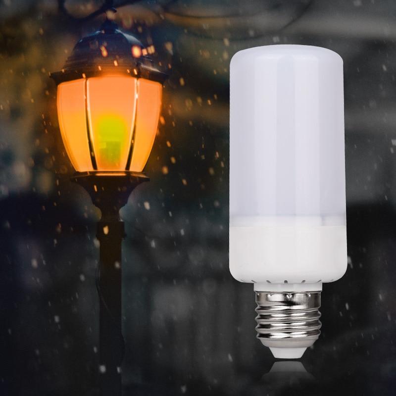 5W LED Lamp Flame Effect Fire Light Bulbs E27 E14 2835SMD 3 Modes Flickering Emulation Flame Lights AC85-265V 5w 2835 smd led lamp bulb e27 e26 1800k yellow flickering flame flame effect fire light bulbs ac85 265v bb speaker