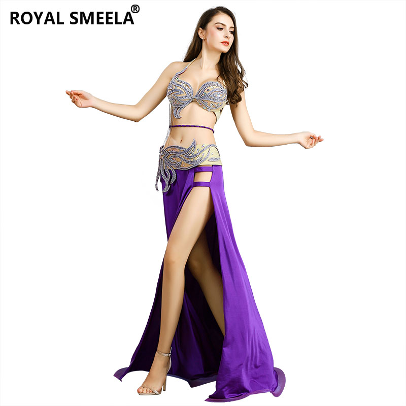Belly Dance Costume Outfit Set Bra Top Belt Arm Skirt Dress Bollywood 4PCS