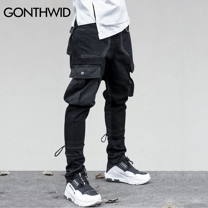 GONTHWID Side Pockets Harem Pants Mens Hip Hop Patchwork Cargo Ripped Sweatpants Joggers Trousers Male Fashion Full Length Pants