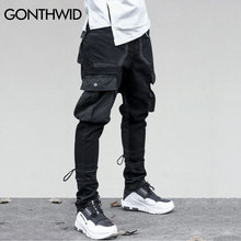 GONTHWID Side Pockets Pants Mens  Patchwork Cargo Ripped Full Length Pants