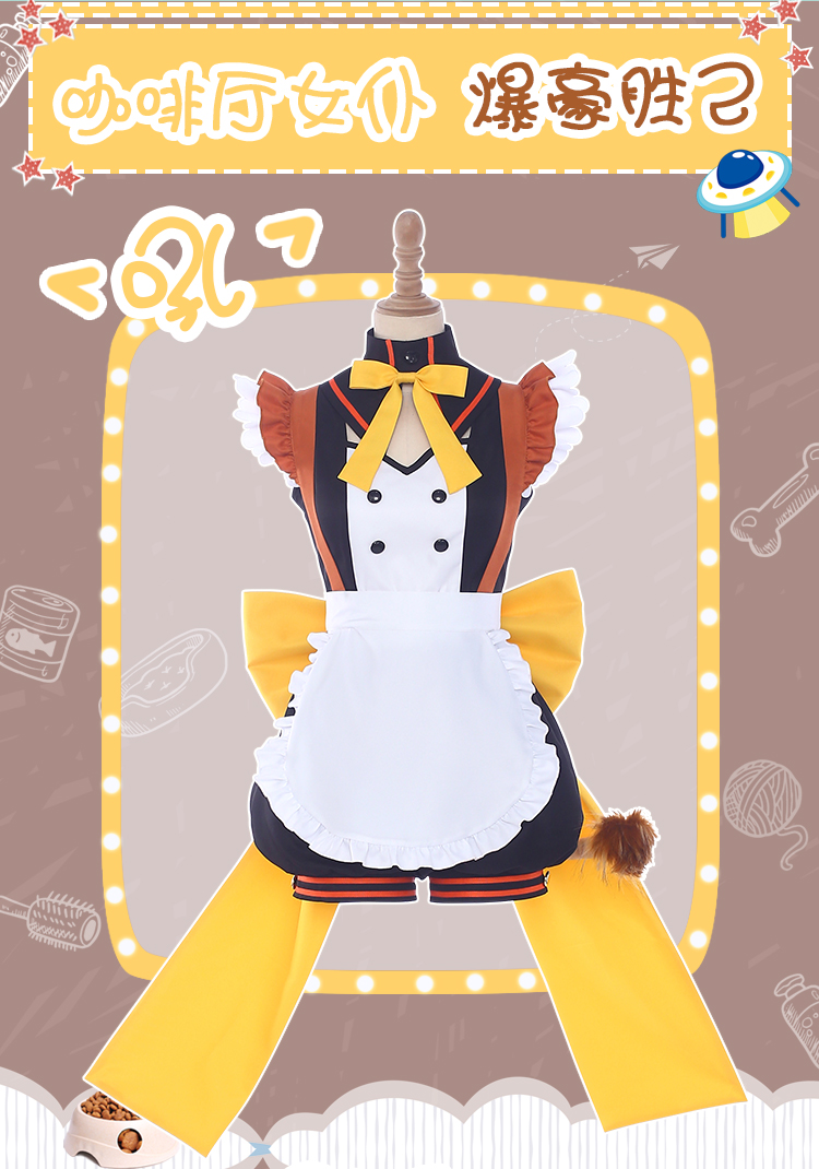 Anime Hero Academia Maid Coffee Shop Bakugou Katsuki Cosplay Costume Cat Maid Dress Free Shipping in Anime Costumes from Novelty Special Use