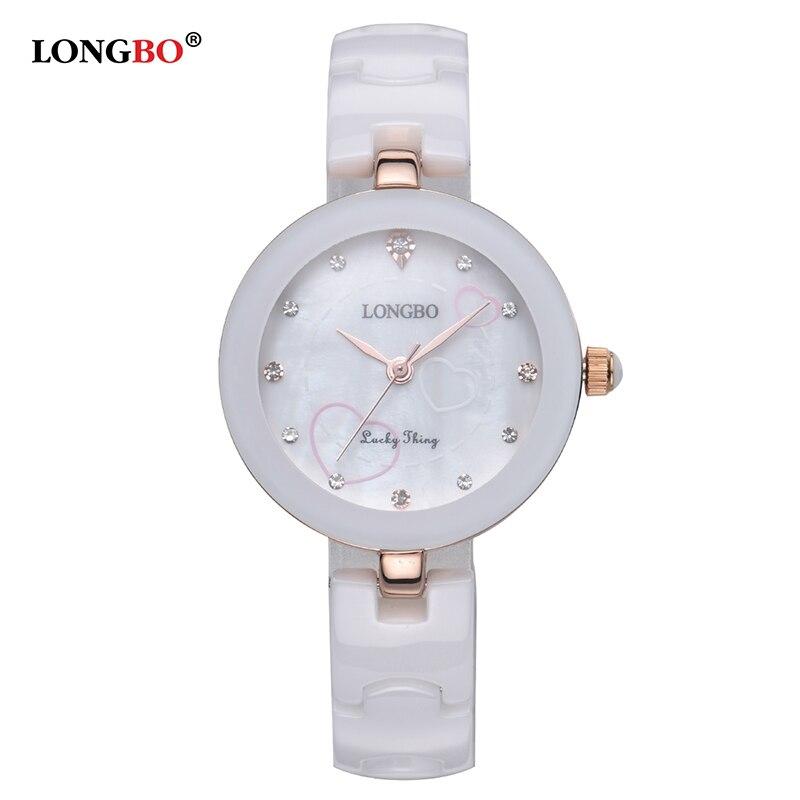 Longbo Top Fashion Women Brand Clock Classic Quality White Ceramics Ladies Quartz Gift Watch Casual Waterproof Wristwatch Female