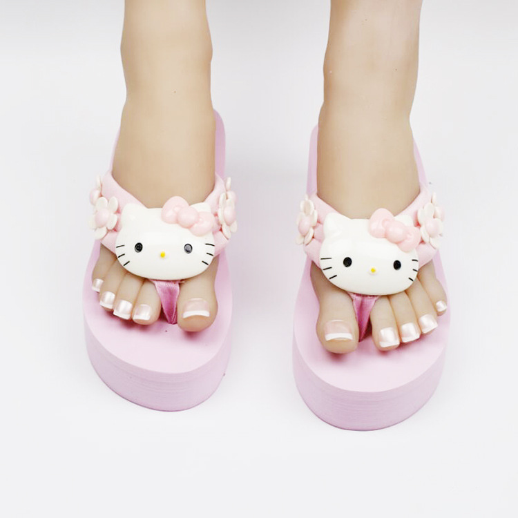 Hello Kitty Wedge Flip Flop Slippers 1