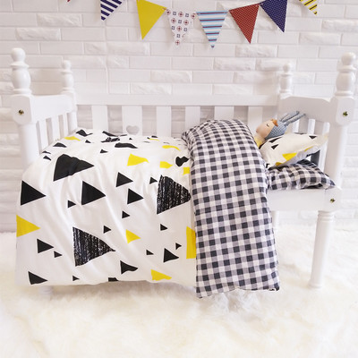 3PCS Cartoon  Baby Bedding Set Cartoon Toddler Bed Crib Set Cotton Safe Bumper,Duvet Cover/Sheet/Pillow Cover,